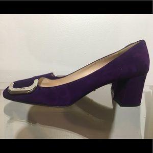Prada Low Heel Viola Suede Pump with Buckle Toe